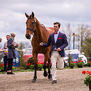 Waylon Roberts (CAN) and Kelecyn Cognac during the first horse inspection of the 2018 Land Rover Kentucky Three-Day Event in Lexington, Kentucky