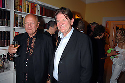 Left to right, Actor STEVEN BERKOFF and JOHN MADEJSKI at a party to celebrate the 21st birthday of one of their horses Leopold, held at 35 Sloane Gardens, London W1 on 10th September 2007.<br />