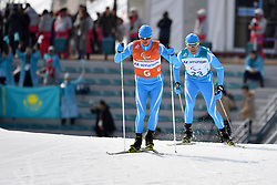 KANAFIN Kairat KAZ B2 Guide: ZHDANOVICH Anton competing in the ParaSkiDeFond, Para Nordic Skiing, 20km at  the PyeongChang2018 Winter Paralympic Games, South Korea.