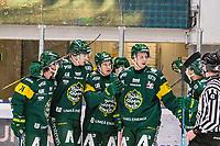2019-12-02 | Umeå, Sweden: Björklöven (96) Pontus Andersson scores 1-0 to IF Björklöven in HockeyAllsvenskan during the game  between Björklöven and Mora at A3 Arena ( Photo by: Michael Lundström | Swe Press Photo )<br /> <br /> Keywords: Umeå, Hockey, HockeyAllsvenskan, A3 Arena, Björklöven, Mora, mlbm191202, happy happiness celebration celebrates