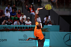 May 6, 2019 - Madrid, Spain - Frances  Tiafoe (USA) in his match against Nikoloz Basilashvili ( GEO)  during day three of the Mutua Madrid Open at La Caja Magica in Madrid on 6th May, 2019. (Credit Image: © Juan Carlos Lucas/NurPhoto via ZUMA Press)