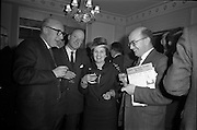 11/01/1963<br /> 01/11/1963<br /> 11 January 1963<br /> Leipzig Fair reception and film show at the Gresham Hotel, Dublin. At the reception were (l-r): J.M. Leydon, Dakota Ltd., (President Irish Exporters' Association); Martin Sheridan, P.R.O. Cora Tractala (Irish Export Board); Miss S. Nyhan, Federation of Irish Industries Ltd., Dublin and Donal Gilligan, Coras Tractala.