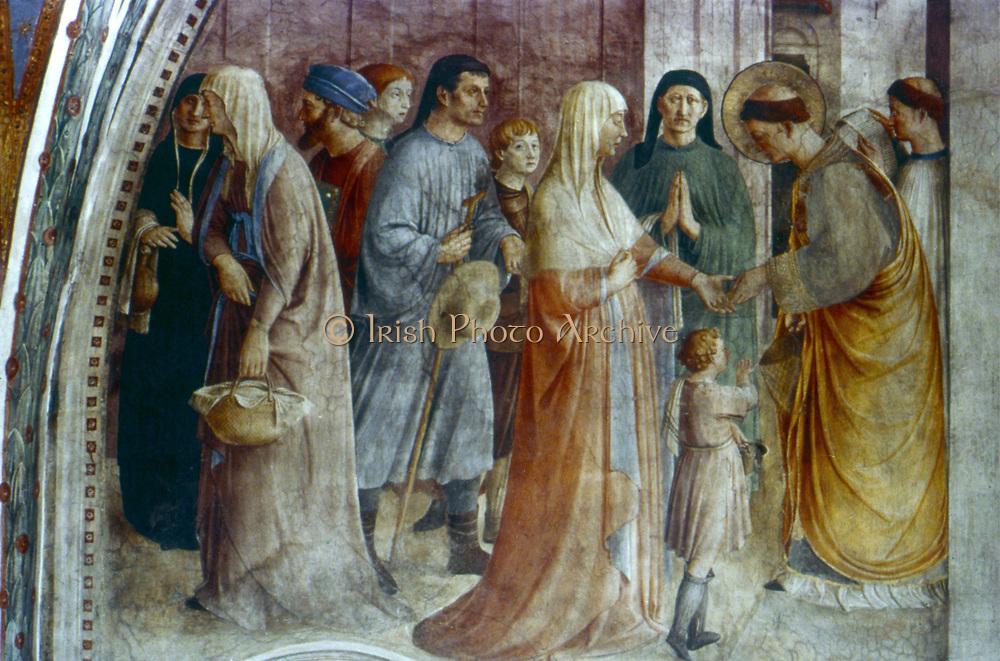 St Stephen giving Alms in Rome'.  Fra Angelico (Guido di Pietro/Giovanni da Fiesole c1400-55) Italian painter. Fresco,Chapel of Nicholas V, Vatican Palace.