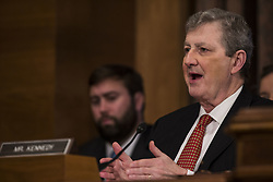 October 3, 2017 - Washington, District Of Columbia, USA - Senator JOHN KENNEDY (R-LA) asks Timothy Sloan, President and Chief Executive Officer of Wells Fargo, a question as Sloan testifies before United States Senate Banking Committee. (Credit Image: © Alex Edelman via ZUMA Wire)