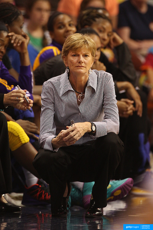 Carol Ross, Los Angeles Sparks Head Coach, during the Connecticut Sun Vs Los Angeles Sparks WNBA regular season game at Mohegan Sun Arena, Uncasville, Connecticut, USA. 3rd July 2014. Photo Tim Clayton