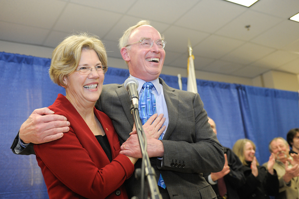 Elizabeth Warren and her husband Bruce Mann after her Massachusetts swearing in ceremony as the new state senator at Roxbury Community College, Roxbury, MA.