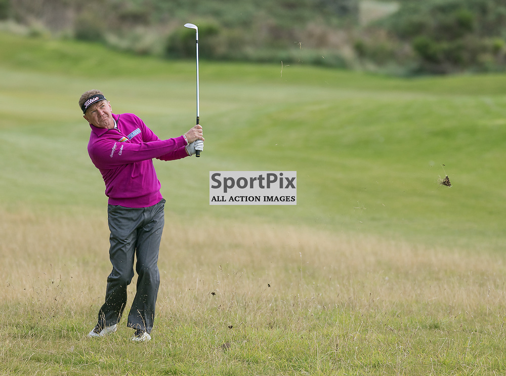 Paul BROADHURST (England) watches his third shot at the 18th (his 9th) hole.  Prostate Cancer UK Scottish Senior Open, 28th August 2015