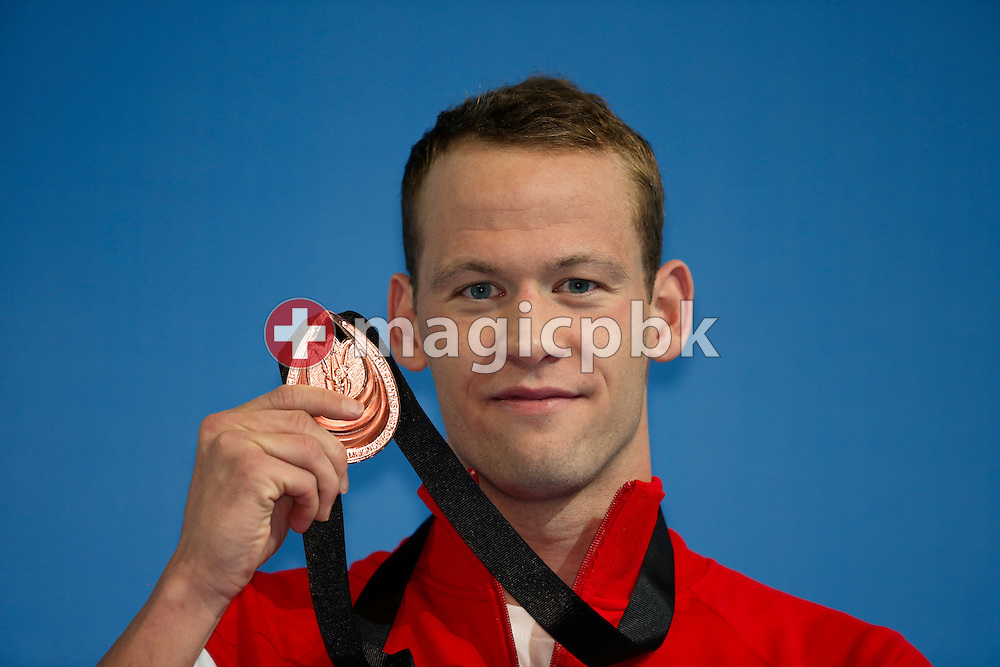 Mads GLAESNER of Denmark poses with his bronze medal after finishing third in the men's 400m Freestyle Final during the 11th Fina World Short Course Swimming Championships held at the Sinan Erdem Arena in Istanbul, Turkey, Friday, Dec. 14, 2012. (Photo by Patrick B. Kraemer / MAGICPBK)