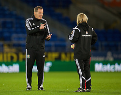 CARDIFF, WALES - Tuesday, August 21, 2014: Wales' manager Jarmo Matikainen and coach Kath Morgan after the FIFA Women's World Cup Canada 2015 Qualifying Group 6 match against England at the Cardiff City Stadium. (Pic by David Rawcliffe/Propaganda)