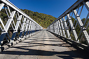 one lane bridge spanning the buller river, west coast, new zealand