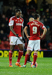 Bristol City's Jay Emmanuel-Thomas speaks with Bristol City's Sam Baldock before restarting the game - Photo mandatory by-line: Dougie Allward/JMP - Tel: Mobile: 07966 386802 14/01/2014 - SPORT - FOOTBALL - Vicarage Road - Watford - Watford v Bristol City - FA Cup - Third Round - replay