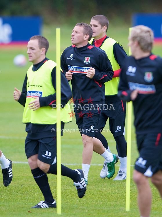 CARDIFF, WALES - Tuesday, October 7, 2008: Wales' captain Craig Bellamy during training at the Vale of Glamorgan Hotel ahead of the 2010 FIFA World Cup South Africa Qualifying Group 4 match against Liechtenstein. (Photo by David Rawcliffe/Propaganda)