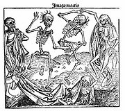Death triumphant. From Hartmann Schedel 'Liber chronicarum mundi' (Nuremberg Chronicle), 1493. Skeletons anatomically inaccurate, especially bones of the pelvis. Woodcut