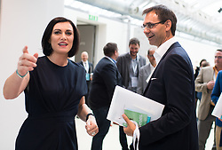 "01.07.2017, Design Center, Linz, AUT, ÖVP, 38. ordentlicher Bundesparteitag, mit Wahl von Bundesminister Kurz zum neuen Bundesparteiobmann, unter dem Motto ""Zeit für Neues - Zusammen neue Wege gehen"". im Bild v.l.n.r. ÖVP-Generalsekretärin Elisabeth Köstinger und Landeshauptmann Vorarlberg Markus Wallner (ÖVP) // during political convention of the Austrian People' s Party with election of Sebastian Kurz as the new party leader at Design Centre in Linz, Austria on 2017/07/01. EXPA Pictures © 2017, PhotoCredit: EXPA/ Michael Gruber"