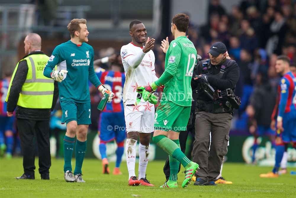 LONDON, ENGLAND - Sunday, March 6, 2016: Liverpool's Christian Benteke and Crystal Palace's goalkeeper Alex McCarthy after the Premier League match at Selhurst Park. (Pic by David Rawcliffe/Propaganda)