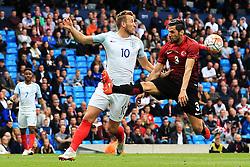 Harry Kane of England challenges Hakan Kadir Balta of Turkey - Mandatory byline: Matt McNulty/JMP - 07966386802 - 22/05/2016 - FOOTBALL - Etihad Stadium -Manchester,England - England v Turkey - International Friendly