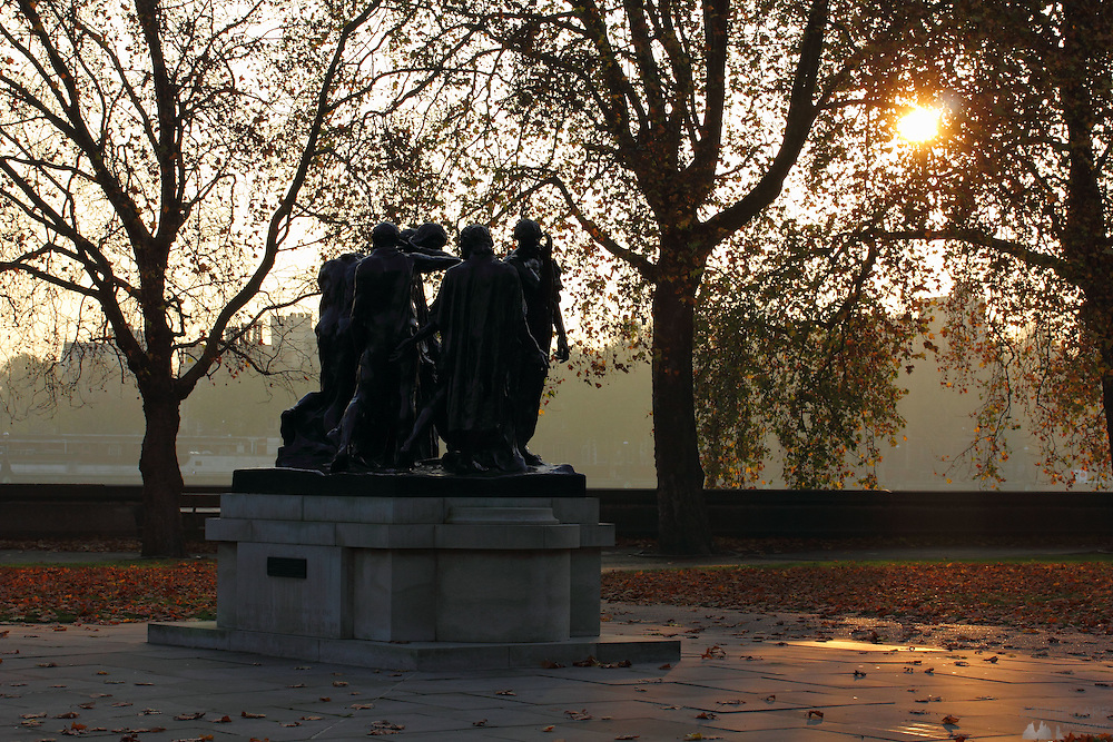 "The wonderful ""Burghers of Calais"" sculpture by Auguste Rodin, in London's Victoria Tower Gardens, Westminster, just after sunset."