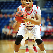 South Alabama's forward Augustine Rubit (21) shoots a free throw in the first half of play in Mobile, AL. Denver leads South Alabama 30-24 at halftime on January 7, 2012...
