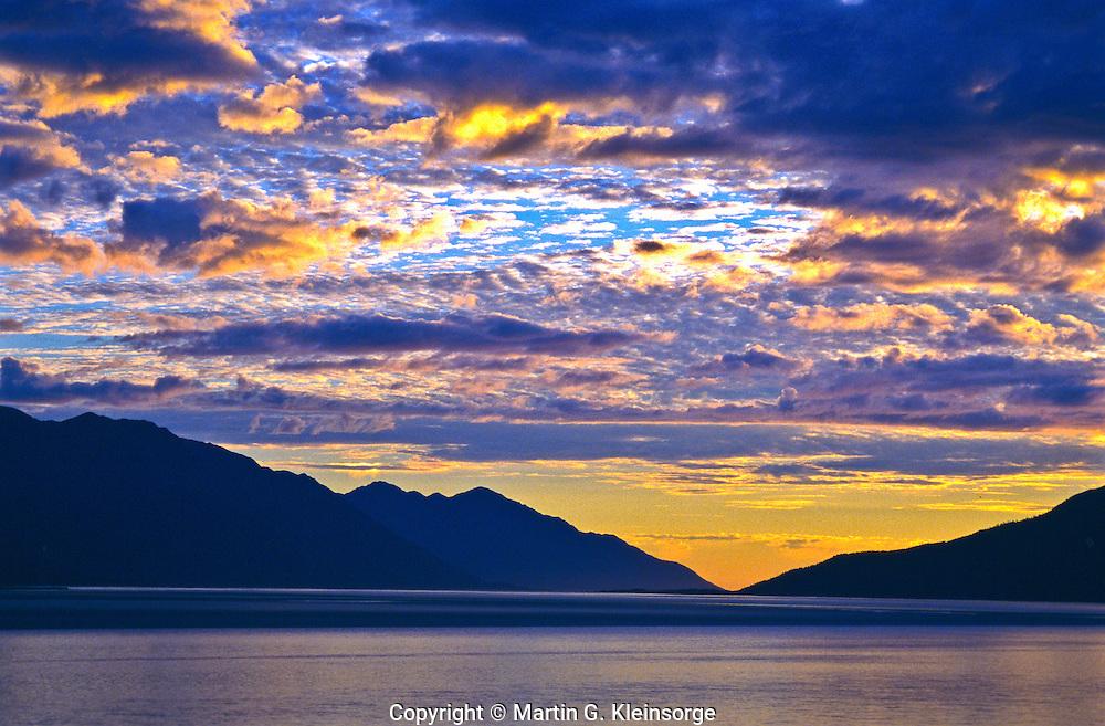 Sunset over Turnagain Arm of the Cook Inlet.  Between Girdwood and Portage, Alaska.