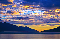Sunset over Turnagain Arm of the Cook Inlet.  Between Girdwood and Portage, Alaska.