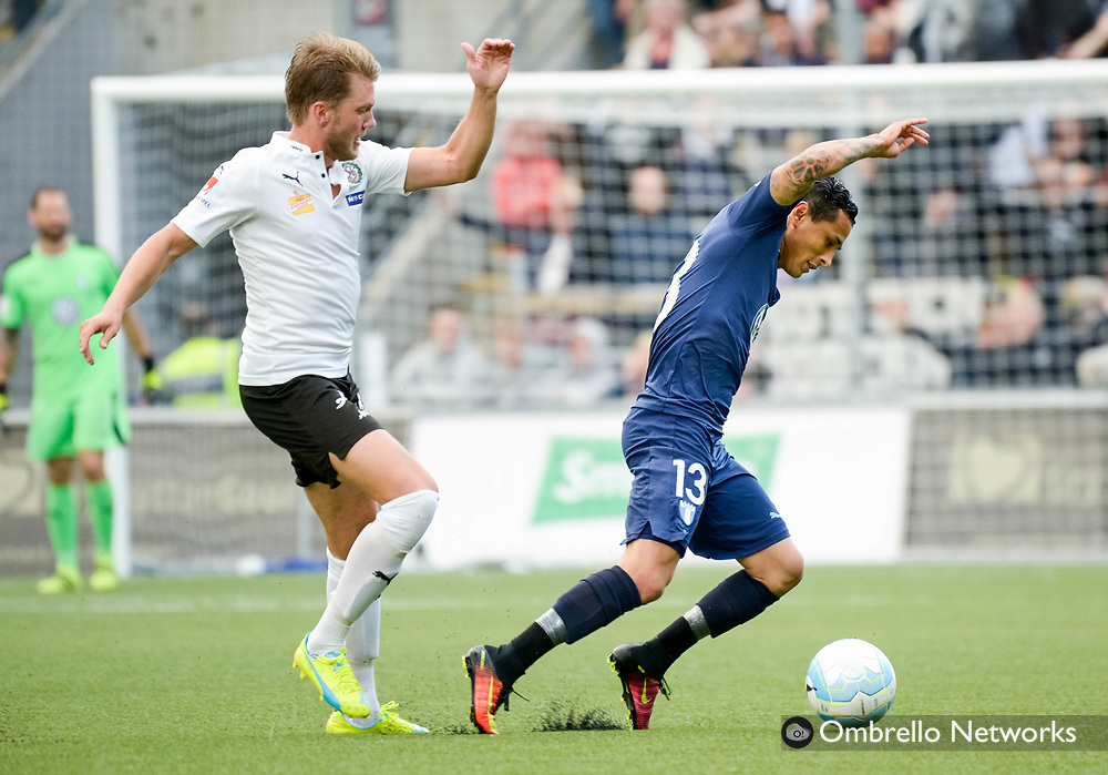 ÖREBRO, SWEDEN - AUGUST 01: Martin Broberg of Örebro SK  & Yoshimar Yotun of Malmö FF  during the allsvenskan match between Örebro SK and Malmö FF at Behrn Arena on August 1, 2016 in Örebro, Sweden. Foto: Pavel Koubek/Ombrello