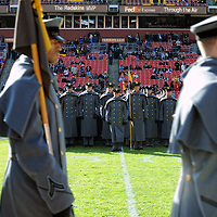 10 December 2011:   The Army Black Knights Corps of Cadets marches on to the field prior to the game against the Navy Midshipmen at Fed Ex field in Landover, Md. in the 112th annual Army Navy game where Navy defeated Army, 27-21 for the 10th consecutive time..