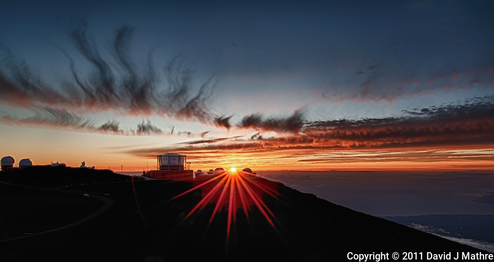 Sunset over Haleakala Satellite Tracking Station from Pu'U'Ula'Ula peak in Haleakala National Park, Maui Hawaii. Image taken with a Nikon D3x and 24 mm f/3.5 PC-E lens (ISO 100, f/16, 1/10 sec). Photoshop CS5 HDR (5 images)