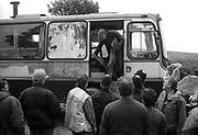 A46 man leaving his van, Solsbury Hill, Somerset, UK, 1994.