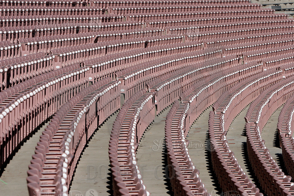 2 December 2006: Empty stadium seating inside the landmark sports facility.  Pac-10 college football upset UCLA beat the Trojans 13-9 during the final home game of the season for the UCLA Bruins vs the University of Southern California USC  Trojans at the Rose Bowl in Pasadena, CA.<br />