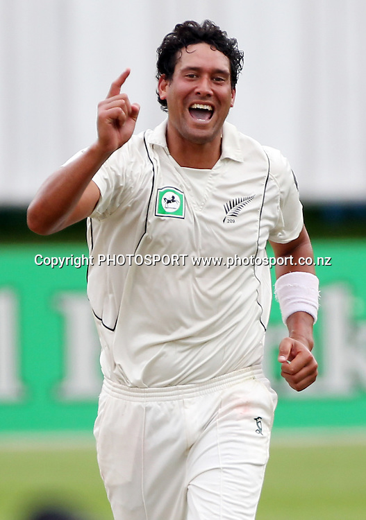 New Zealand's Daryl Tuffey celebrates a wicket.<br />