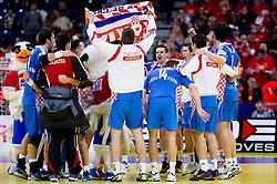 Players of Croatia celebrate after the handball match between Croatia and Spain for 3rd place game at 10th EHF European Handball Championship Serbia 2012, on January 29, 2012 in Beogradska Arena, Belgrade, Serbia.  Croatia defeated Spain 31-27 and won 3rd place. (Photo By Vid Ponikvar / Sportida.com)