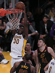 March 11, 2018 - Los Angeles, California, U.S - Julius Randle #30 of the Los Angeles Lakers goes for a dunk during their NBA game with the Cleveland Cavaliers on Sunday March 11, 2018 at the Staples Center in Los Angeles, California. Lakers defeat Cavaliers, 127-113. (Credit Image: © Prensa Internacional via ZUMA Wire)