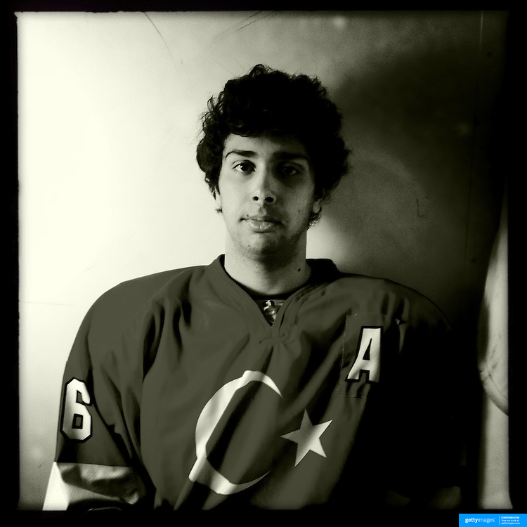 Ice Men Cometh… Baris Sesli, 18, Turkey..An iPhone portrait series on young men competing in the 2012 IIHF Ice Hockey World Championships Division 3. The tournament  was contested by countries New Zealand, Iceland, China, Bulgaria and Turkey at Dunedin Ice Stadium. Dunedin, Otago, New Zealand. 17th January 2012. Photo Tim Clayton