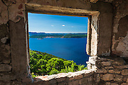 Window view at St. Michael's Fort (13th Century Venetian ruins) Ugljan Island, Dalmatian Coast, Croatia