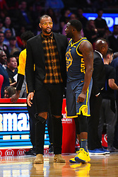 STYLEPREPENDLOS ANGELES, CA - NOVEMBER 12: Golden State Warriors Center DeMarcus Cousins (0) talks with Golden State Warriors Forward Draymond Green (23) during a NBA game between the Golden State Warriors and the Los Angeles Clippers on November 12, 2018 at STAPLES Center in Los Angeles, CA. (Photo by Brian Rothmuller/Icon Sportswire) (Credit Image: © Brian Rothmuller/Icon SMI via ZUMA Press)
