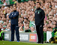 15/07/15 UEFA CHAMPIONS LEAGUE QUALIFIER<br /> CELTIC V STJARNAN<br /> CELTIC PARK - GLASGOW<br /> Celtic manager Ronny Deila in the dugout.