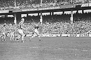 Cork plays hits the ball towards the goal during All Ireland Senior Hurling Final, Cork v Kilkenny in Croke Park on the 3rd September 1972. Kilkenny 3-24, Cork 5-11.