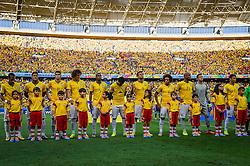 Equipe do Brasil na partida entre Brasil x Colombia, válida pelas quartas de final da Copa do Mundo 2014, no Estádio Castelão, em Fortaleza-CE. FOTO: Jefferson Bernardes/ Vipcomm