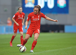MANCHESTER, ENGLAND - Sunday, August 30, 2015: Liverpool's Lucy Staniforth during the League Cup Group 2 match against Manchester City at the Academy Stadium. (Pic by Paul Currie/Propaganda)