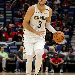 Oct 11, 2018; New Orleans, LA, USA; New Orleans Pelicans forward Nikola Mirotic (3) against the Toronto Raptors during the first half at the Smoothie King Center. Mandatory Credit: Derick E. Hingle-USA TODAY Sports
