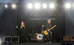 The Rolling Stones perform on stage at Murrayfield Stadium in Edinburgh, Scotland.