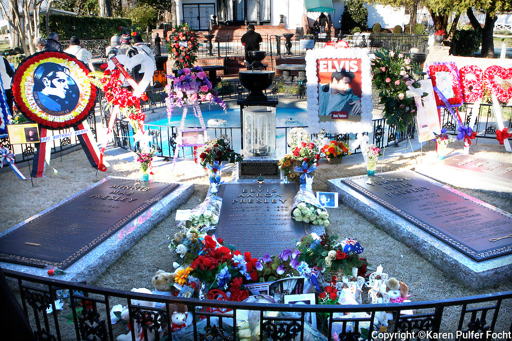 Birthday wishes from around the world, lie around the grave of Elvis Presley at Graceland in Memphis, Tennessee. Elvis would have been 80, today.  (photo by Karen Pulfer Focht)