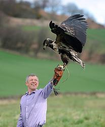 Willie Rennie, Elite Falconry, Cluny, 7-4-2016<br /> <br /> Willie seen with Riply the African Fish Eagle<br /> <br /> (c) David Wardle | Edinburgh Elite media