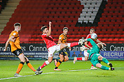 Charlton Athletic forward Macauley Bonne (17) attempts to lob Hull City goalkeeper George Long (1) during the EFL Sky Bet Championship match between Charlton Athletic and Hull City at The Valley, London, England on 13 December 2019.