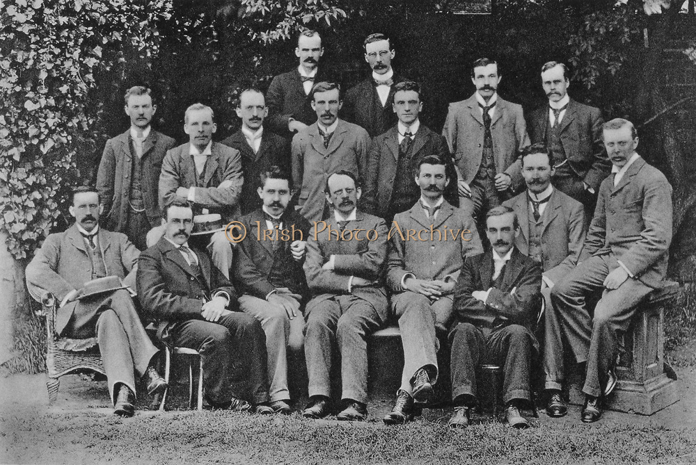 JJ (Joseph John) Thomson (1856-1940) British Nuclear physicist, discovered electron, here with his research students at the Cavendish Laboratory, Cambridge, in 1898. Left to right, back: SW Richardson, J Henry. Middle: EBH Wade, GA Shakespear, CTR Wilson, Ernest Rutherford, W Craig-Henderson, JH Vincent, GB Bryan. Front: J McClelland, C Child, Paul Langevin, JJ Thomson, J Zeleny, RS Willows, HA Wilson, JSE Townsend.