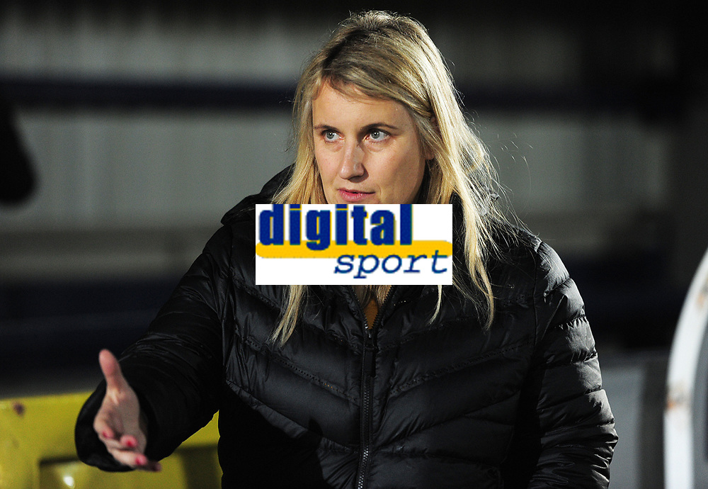 Football - 2018 / 2019 UEFA Women's Champions League - Quarter-Final, First Leg: Chelsea Women vs. Paris Saint-Germain<br /> <br /> Chelsea Manager, Emma Hayes, at Kingsmeadow.<br /> <br /> COLORSPORT/ANDREW COWIE