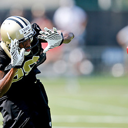 Jul 26, 2013; Metairie, LA, USA; New Orleans Saints defensive back Keenan Lewis (28) works on a special teams drill during the first day of training camp at the team facility. Mandatory Credit: Derick E. Hingle-USA TODAY Sports