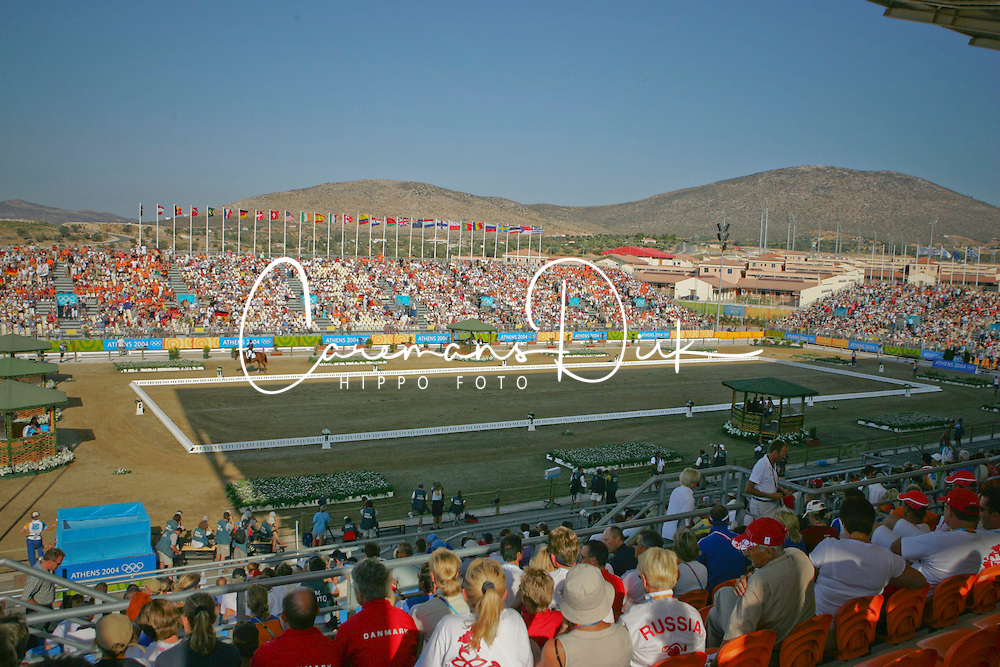 Overview dressage arena<br /> Olympic Games Athens 2004<br /> Photo © Hippo Foto