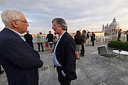 Venice, Italy. 14th Architecture Biennale 2014, &quot;fundamentals&quot;.<br /> Cocktail at Biennale Office. Biennale President Paolo Baratta (l.)