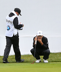 September 10, 2018 - Newtown Square, Pennsylvania, United States - Xander Schauffele (R) and his caddie Austin Kaiser line up a putt on the 9th green during the final round of the 2018 BMW Championship. (Credit Image: © Debby Wong/ZUMA Wire)